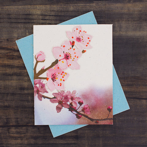 Single Greeting Card Cherry Blossoms Embellished Print