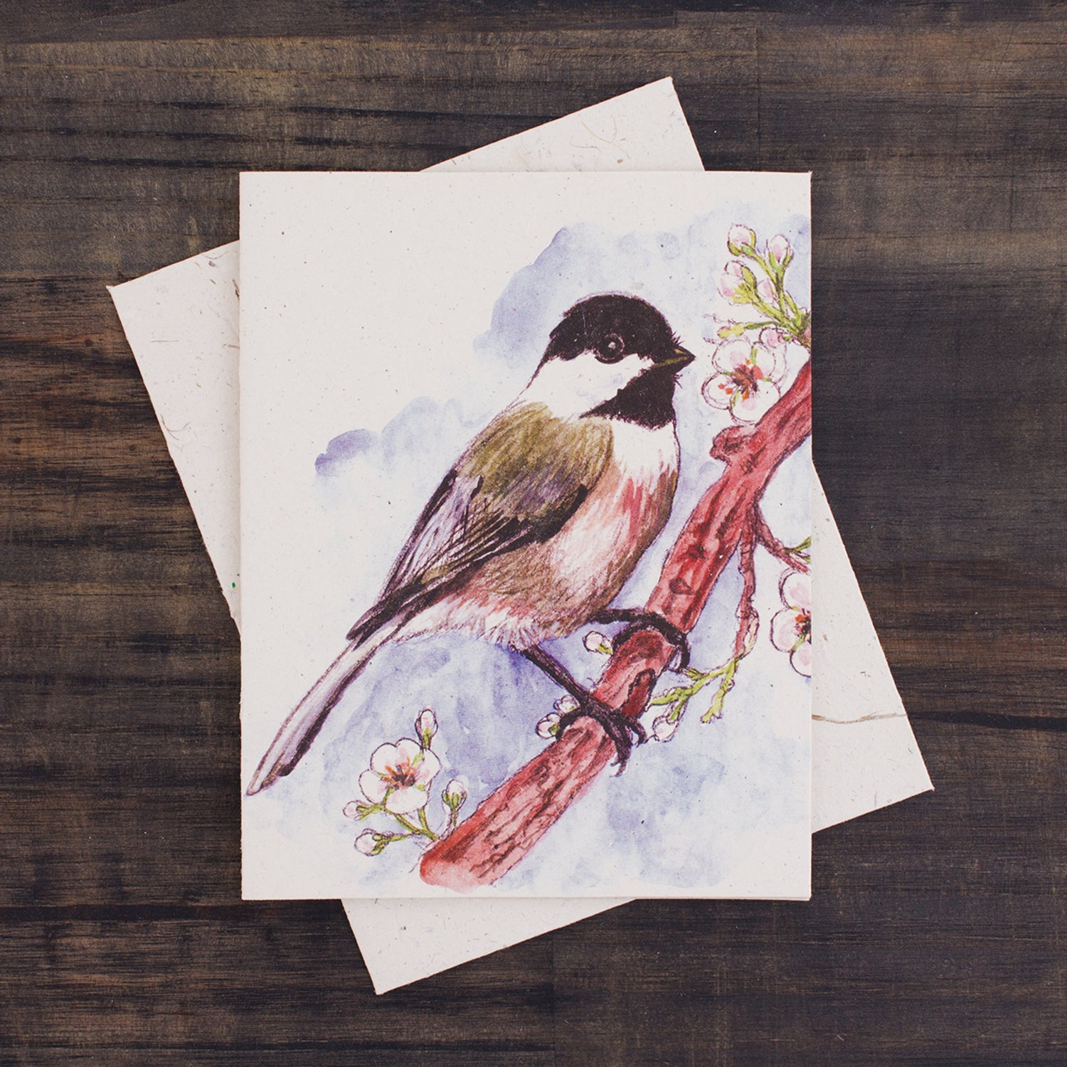 Single Greeting Card Chickadee Watercolor Sketch