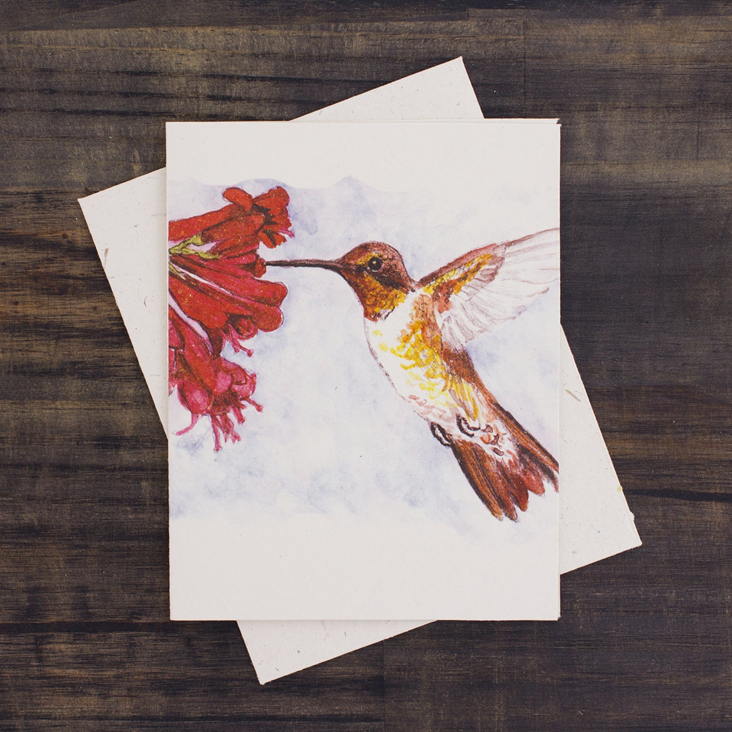 Single Greeting Card Hummingbird Watercolor