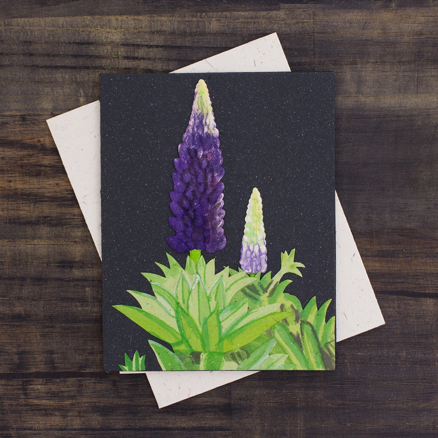 Single Greeting Card Lupine Flower Black