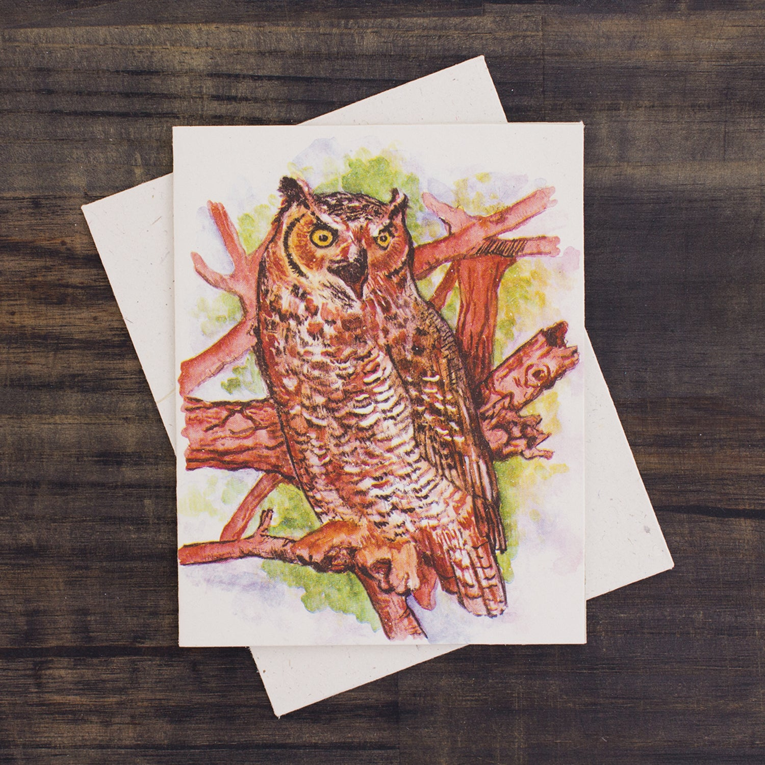 Single Greeting Card Great Horned Owl Watercolor