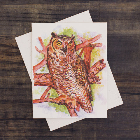 Single Greeting Card Great Horned Owl Watercolor Sketch