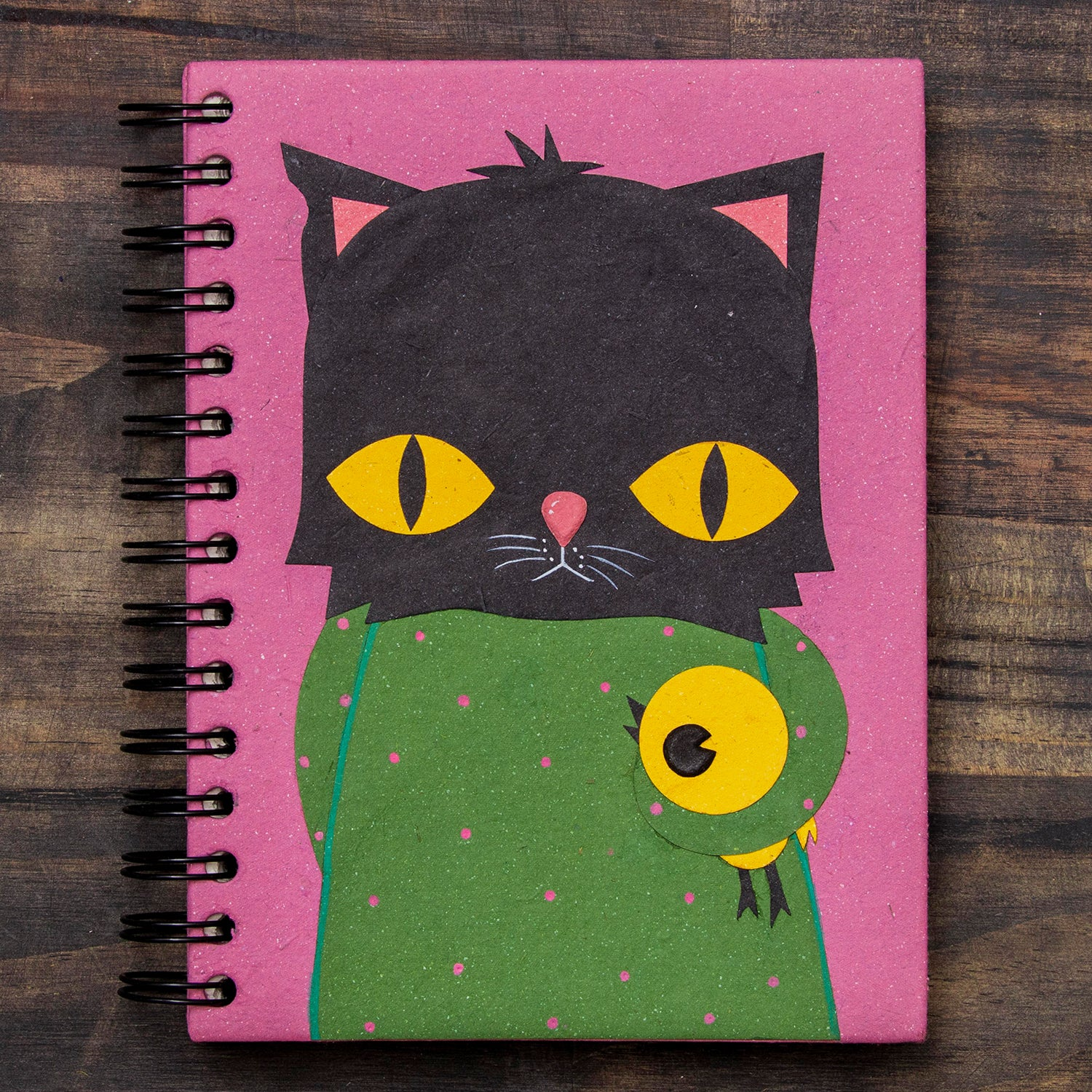 Large Notebook Buster the Black Cat Light Purple