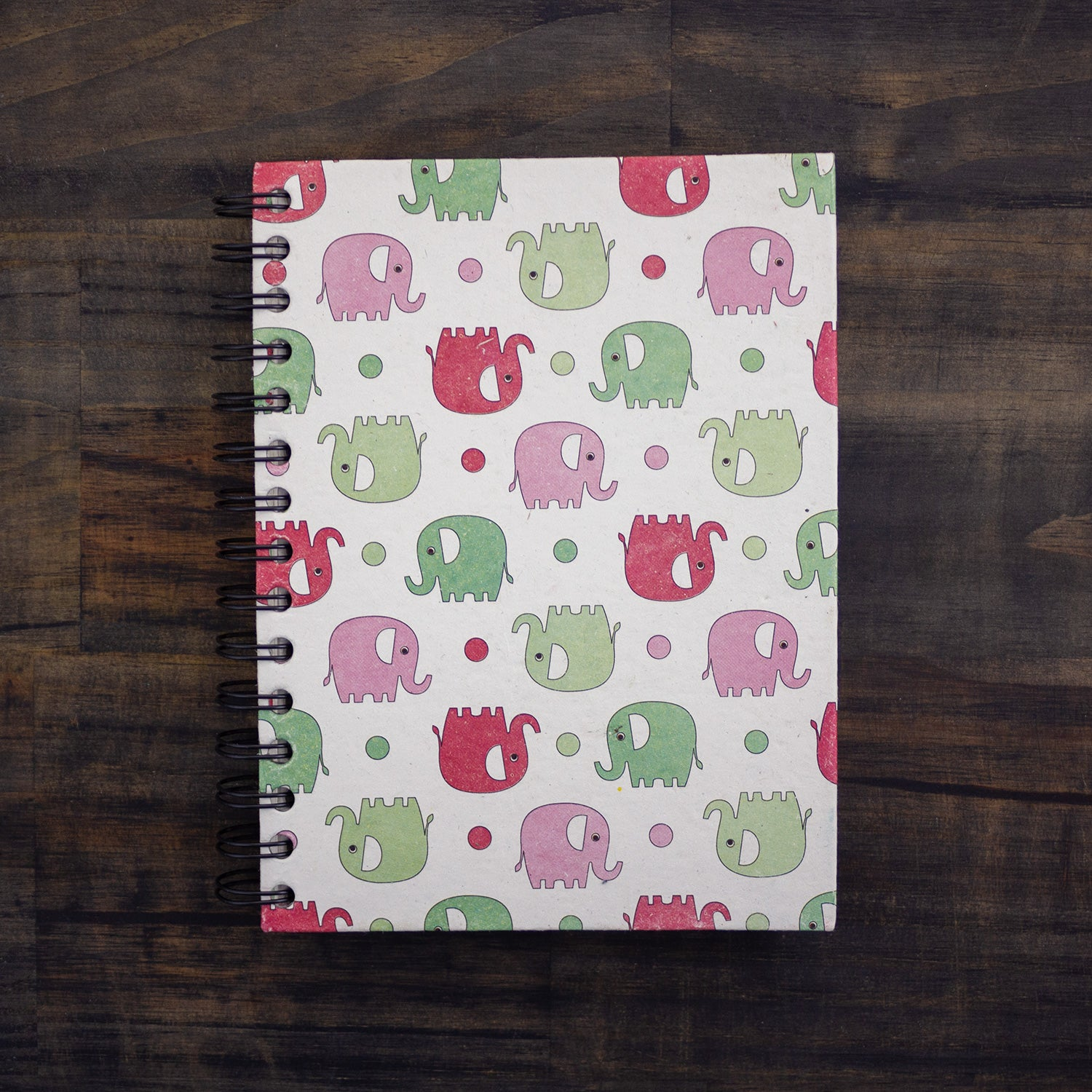 Large Notebook Elephants Pink & Green