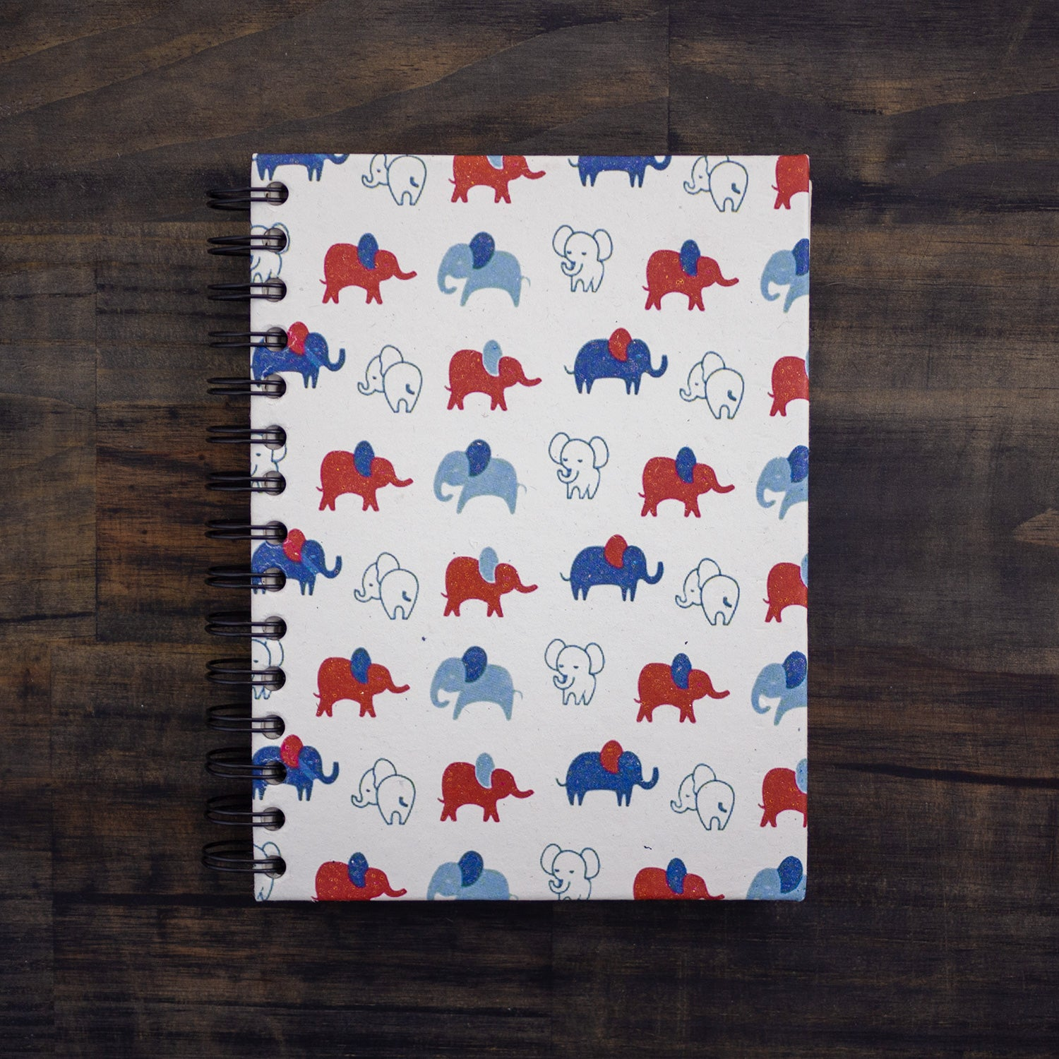 Large Notebook Elephants Red & Blue