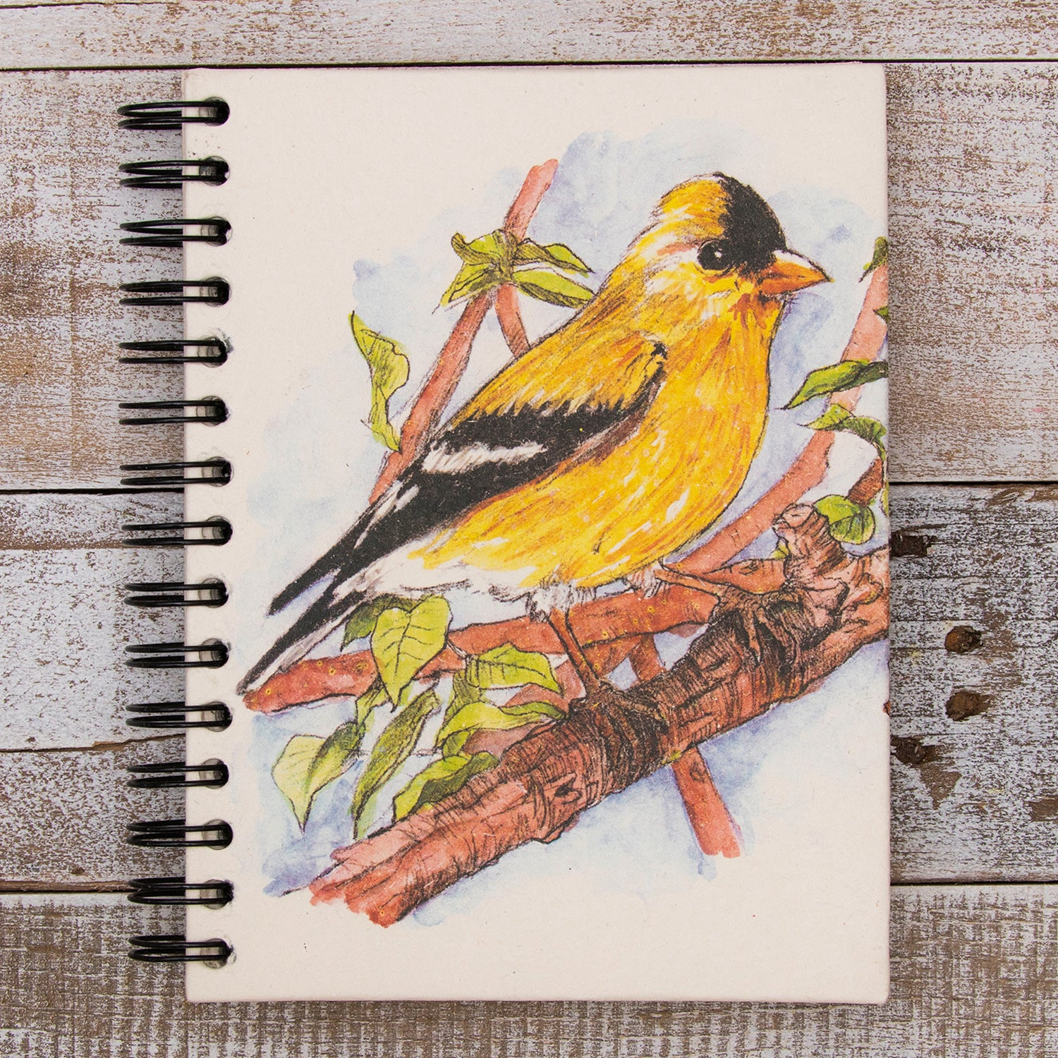 Large Notebook Goldfinch Watercolor