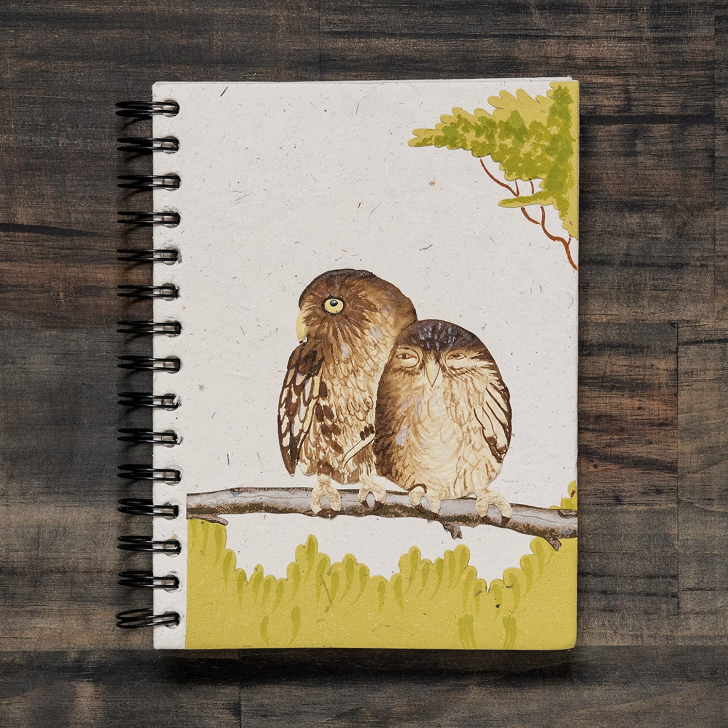 Large Notebook Owls Natural White