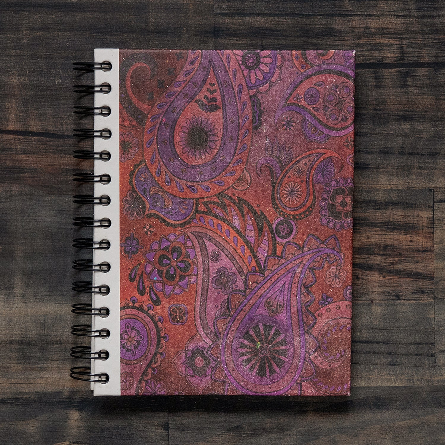 Large Notebook Paisley Red