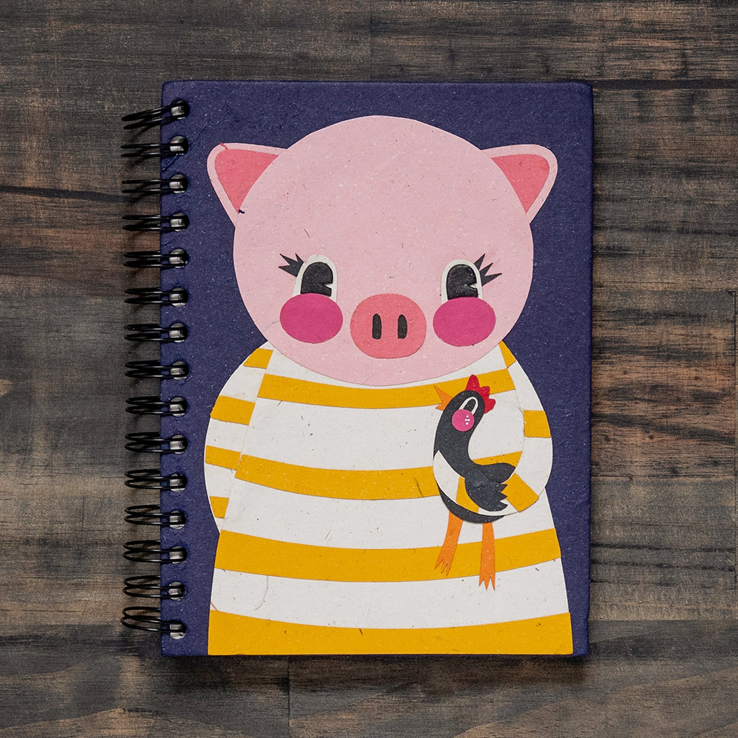 Large Notebook Paula the Pig Dark Blue