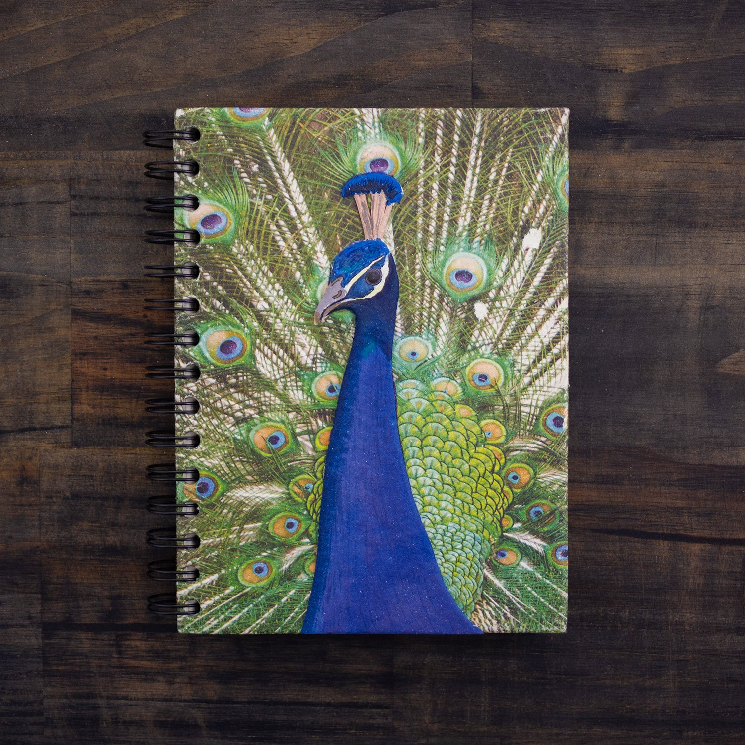Large Notebook Peacock Embellished Print