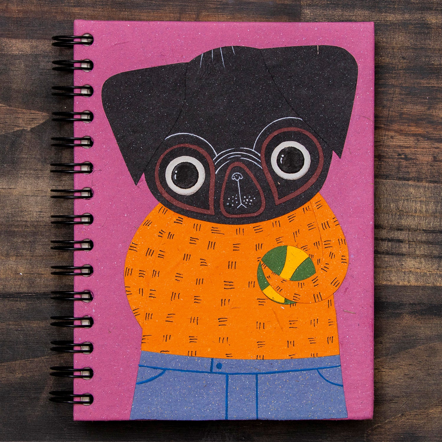 Large Notebook Pico the Pug Light Purple