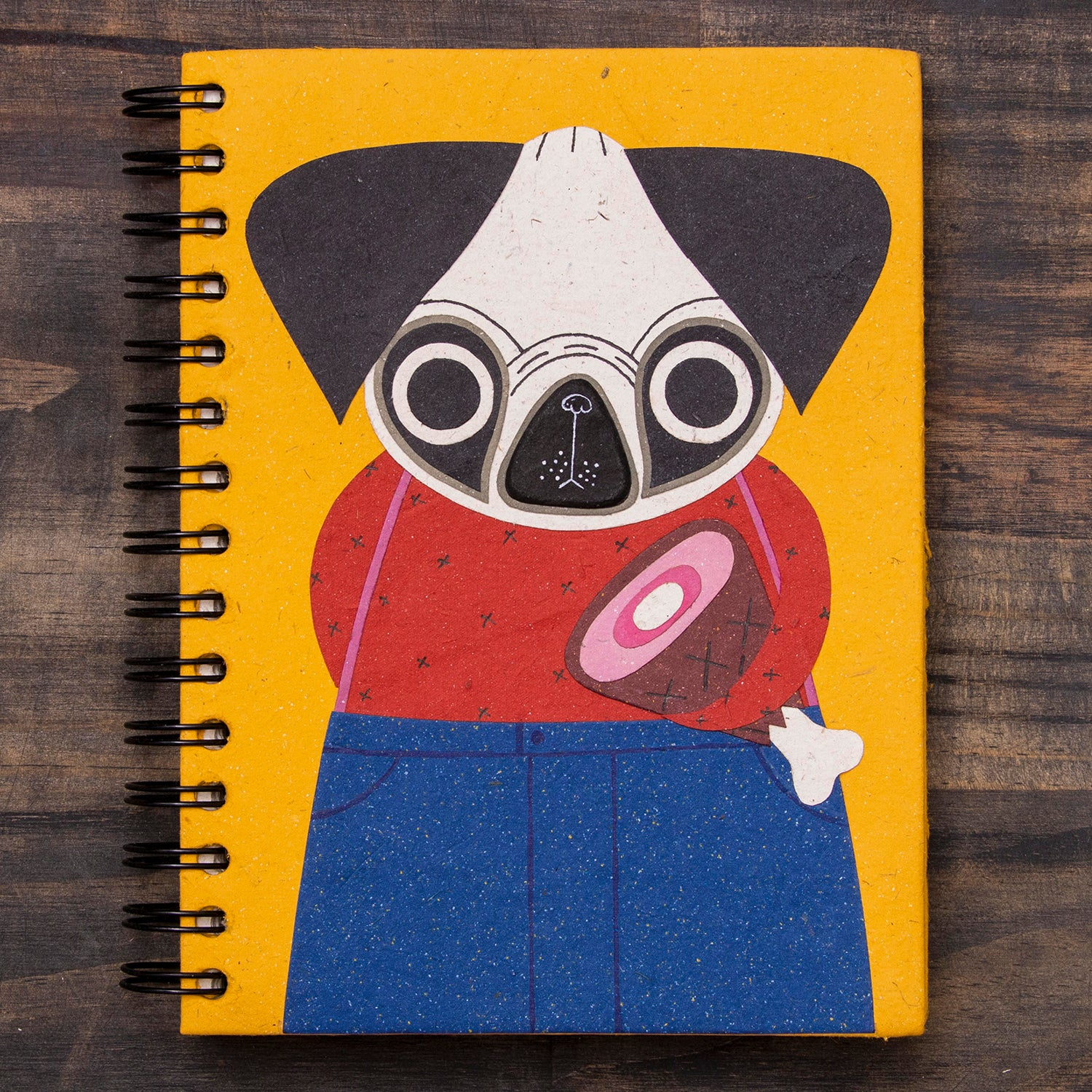 Large Notebook Pugsley the Pug Yellow