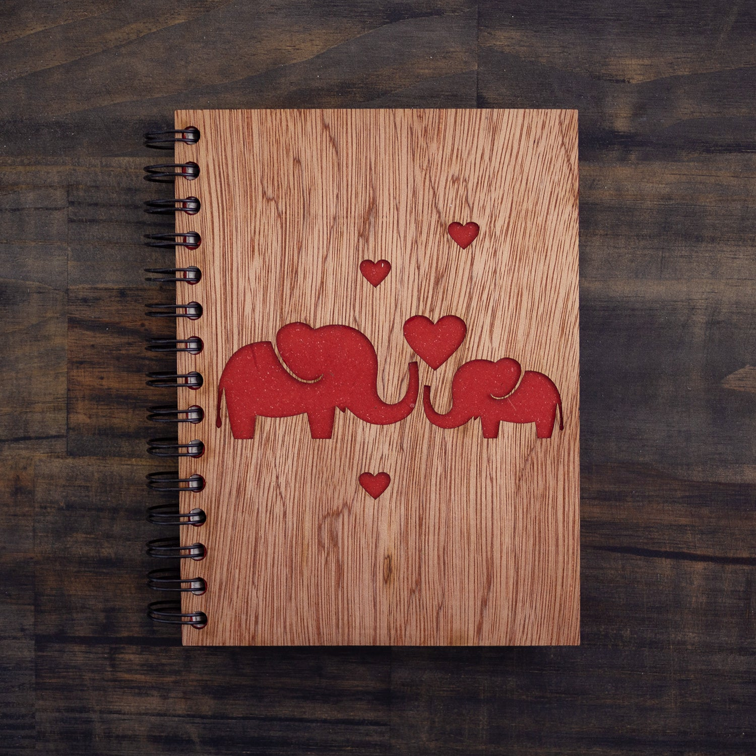 Large Notebook Wood Cover Elephant Love