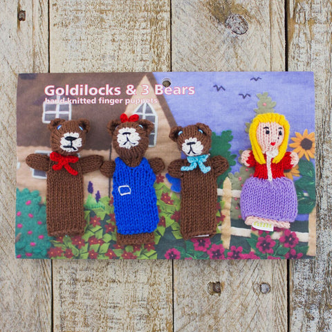 Hand-Knit Finger Puppets Goldilocks and the Three Bears (4pc)