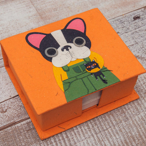 Note Box Benjamin the Boston Terrier Orange