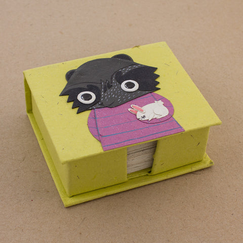 Note Box Billie the Badger Light Green