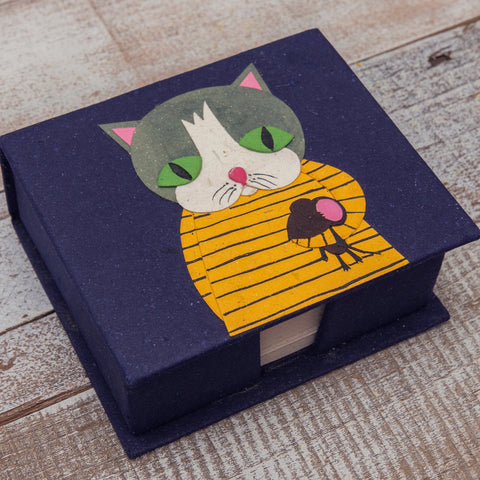 Note Box Gregory the Grey Cat Dark Blue
