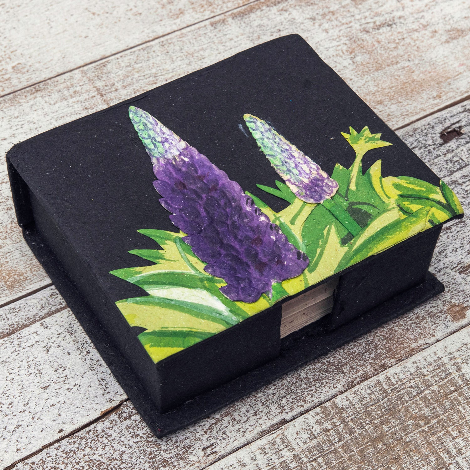 Note Box Lupine Flower Black