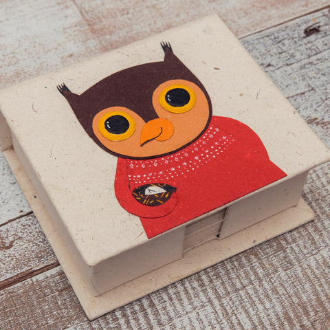 Note Box Oswald the Owl Natural White