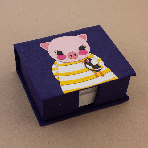 Note Box Paula the Pig Dark Blue
