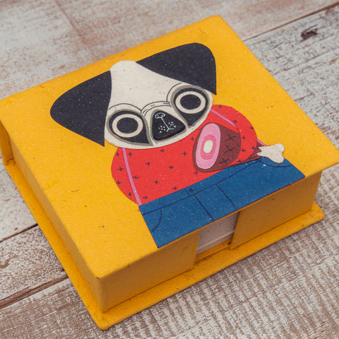 Note Box Pugsley the Pug Yellow