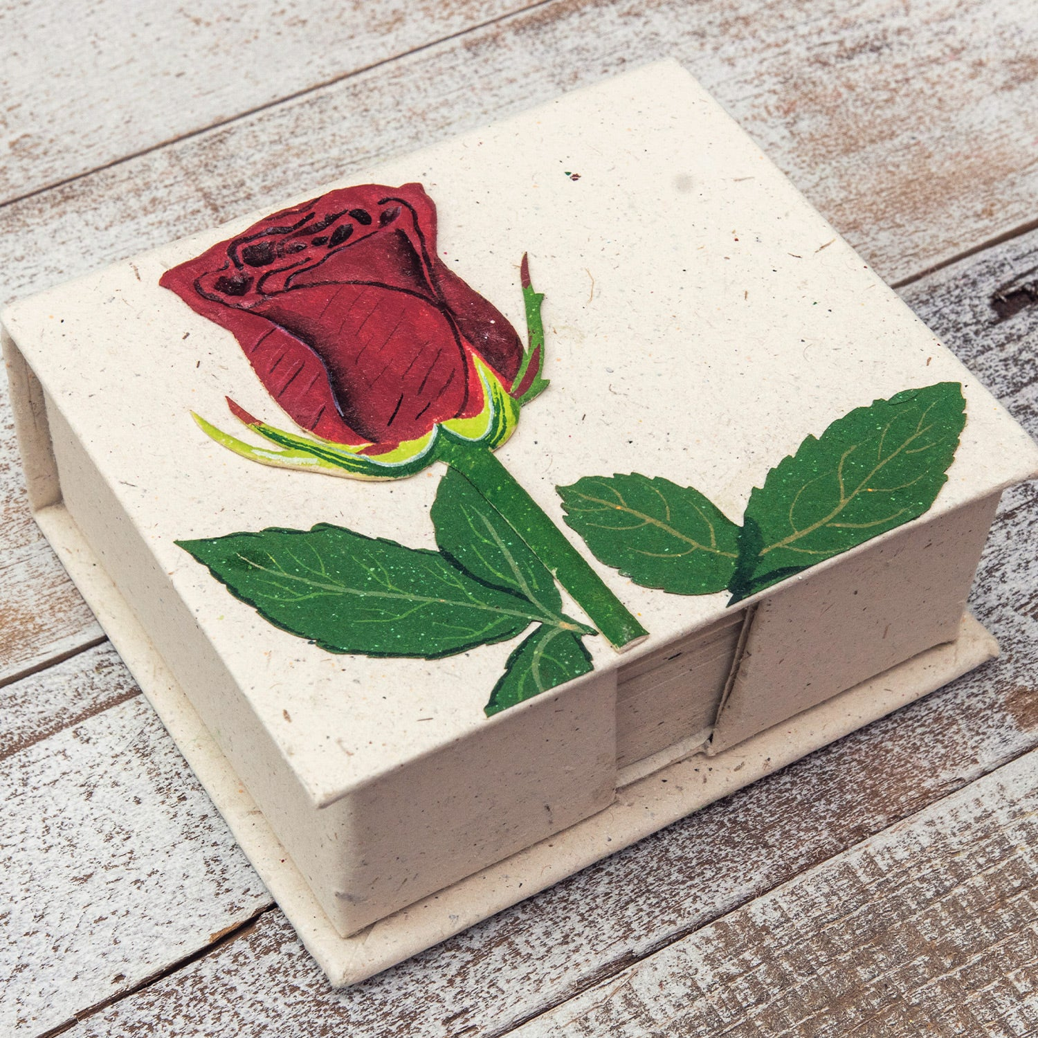 Note Box Rose Flower Natural White