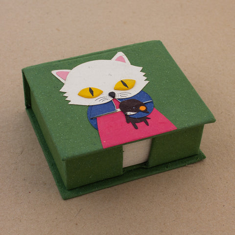 Note Box Whisper the Cat Dark Green