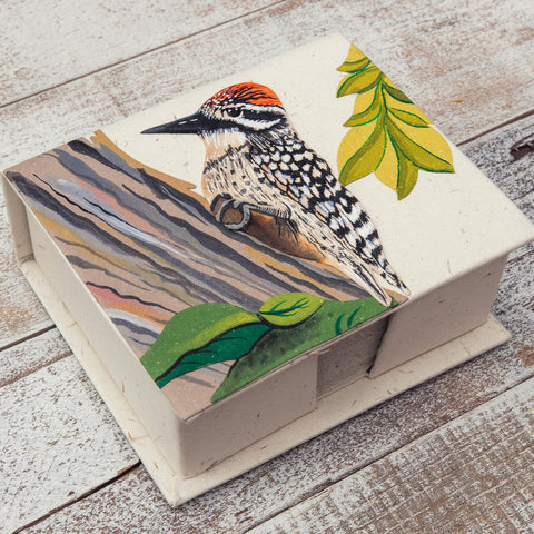 Note Box Woodpecker Natural White