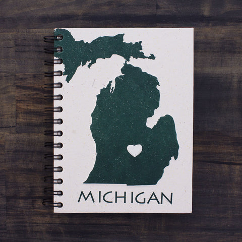 Large Notebook Michigan Green and White