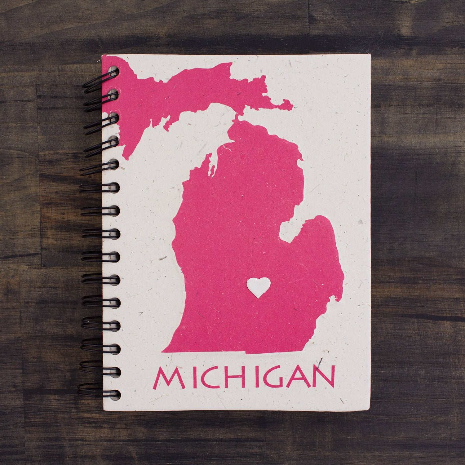 Large Notebook Michigan State Pink and Natural White