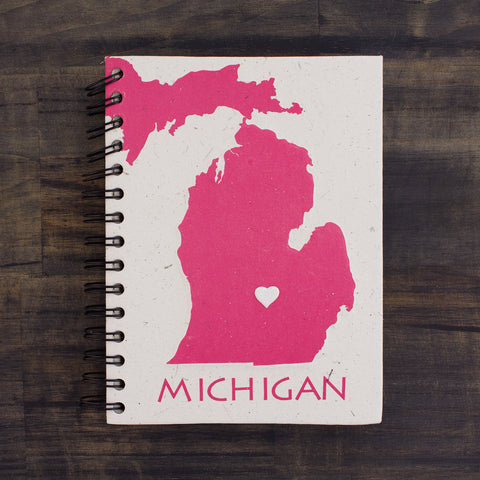 Large Notebook Michigan Pink and White