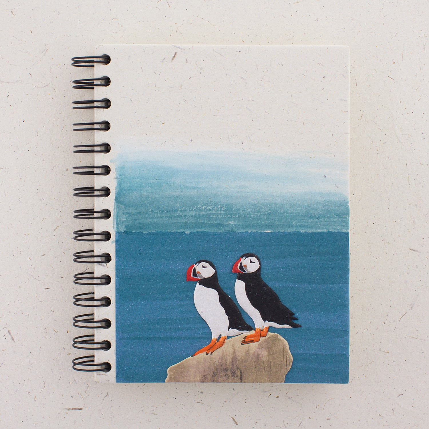 Large Notebook Puffins Natural White