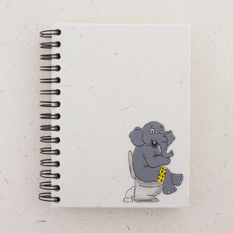 Large Notebook Elephant on Toilet Natural White