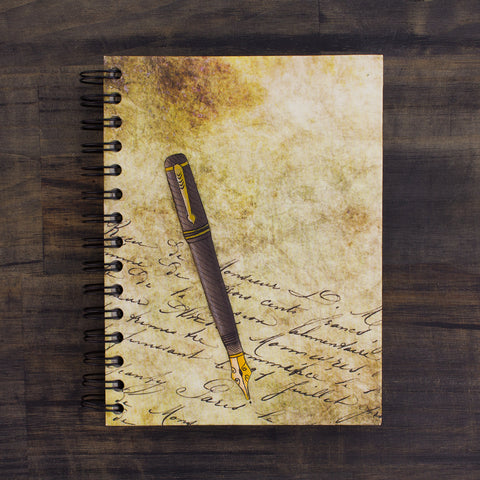 Large Notebook Writer's Pen Embellished Print