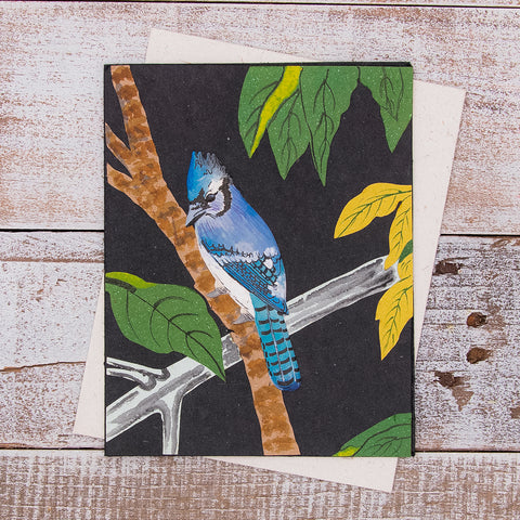 Single Greeting Card Blue Jay Black