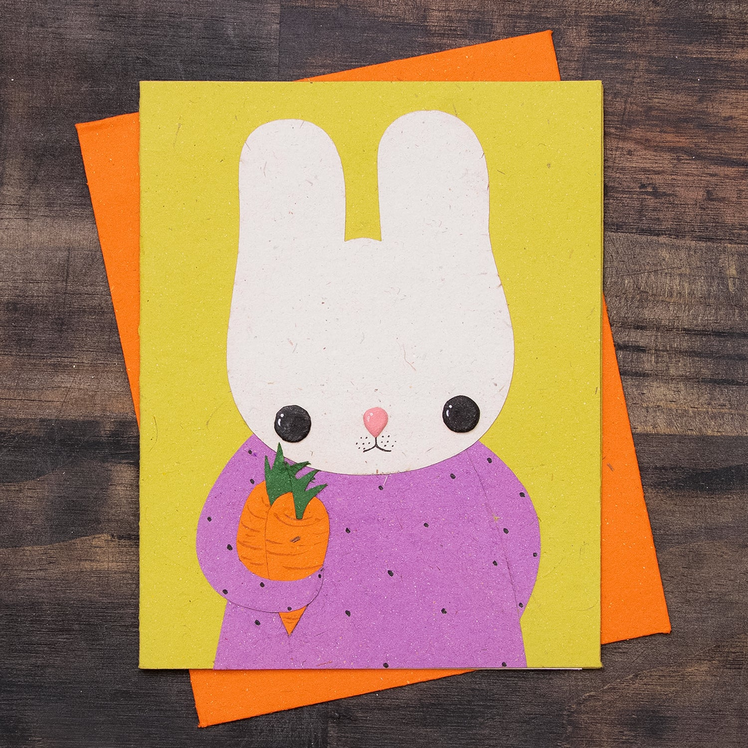 Single Greeting Card Bruce the Bunny Light Green