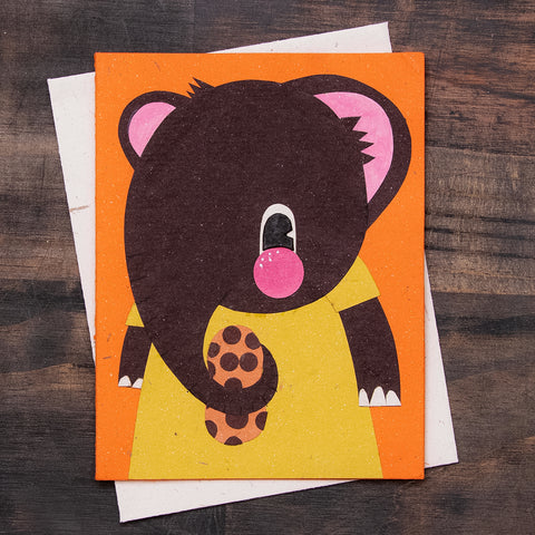 Single Greeting Card Eddie the Elephant Orange