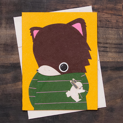 Single Greeting Card Freddy the Fox Yellow