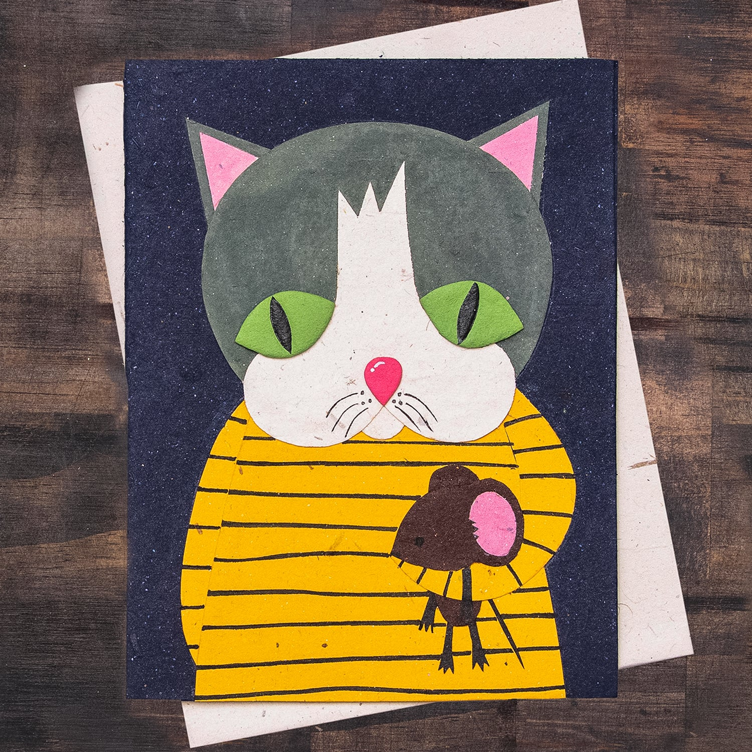 Single Greeting Card Gregory the Grey Cat Dark Blue
