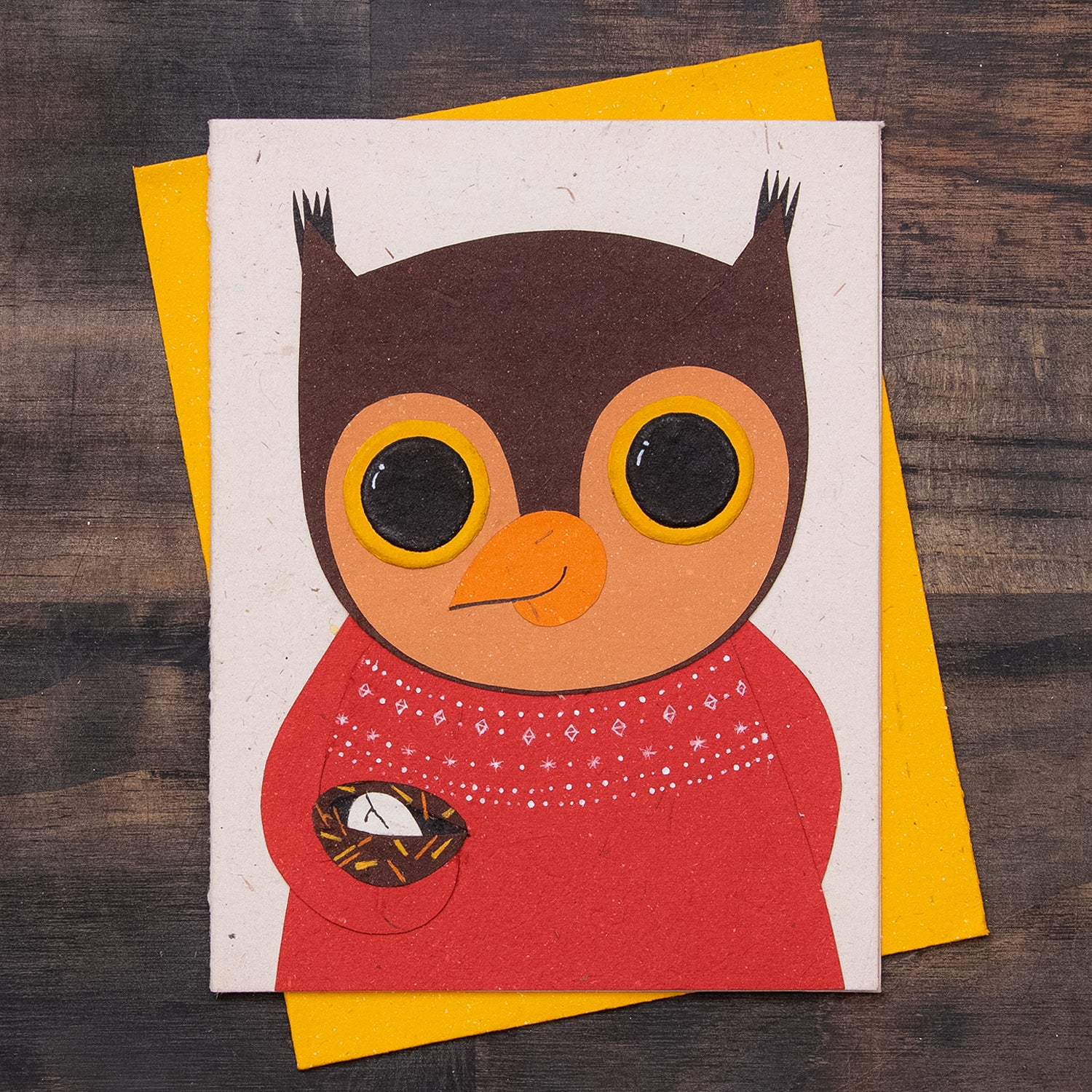 Single Greeting Card Oswald the Owl Natural White