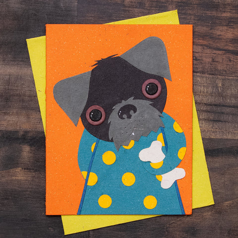 Single Greeting Card Sheila the Schnauzer Orange