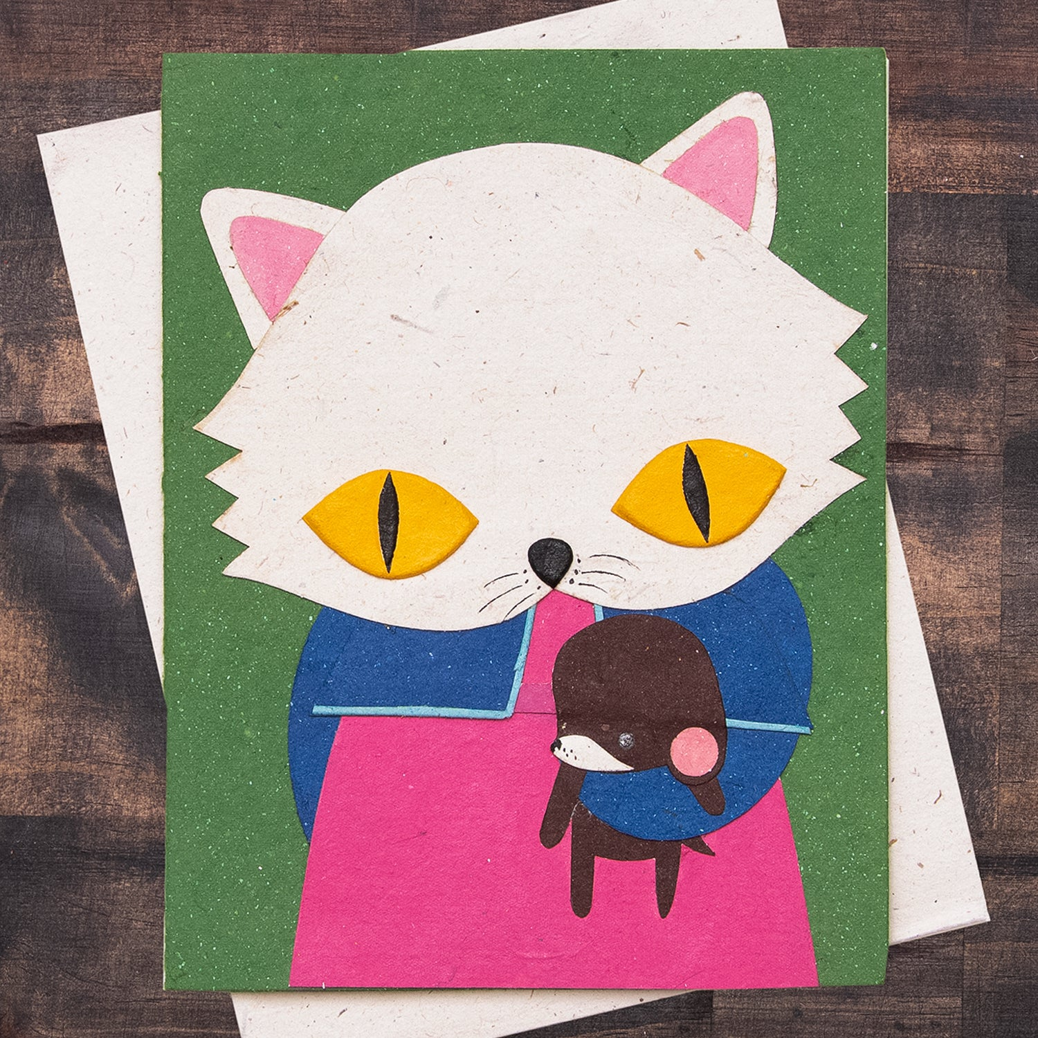 Single Greeting Card Whisper the White Cat Dark Green