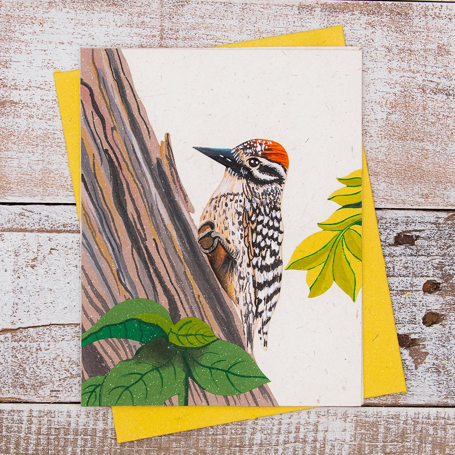 Single Greeting Card Woodpecker Natural White