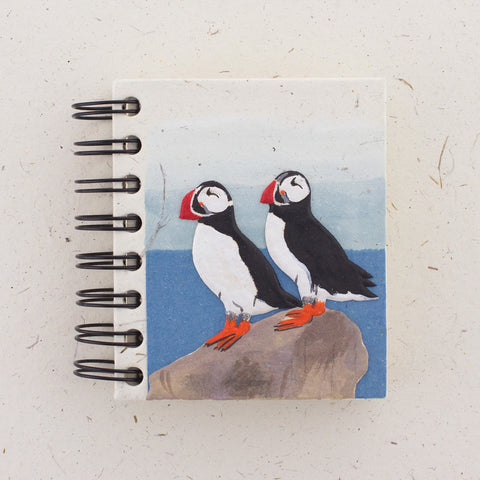 Small Notebook Puffins Natural White