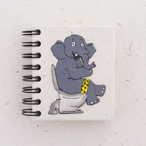 Small Notebook Elephant on Toilet Made of Recycled Elephant Poop