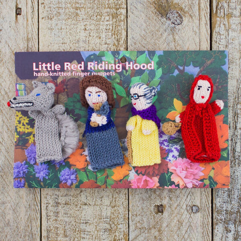 Hand-Knit Finger Puppets Little Red Riding Hood (4pc)