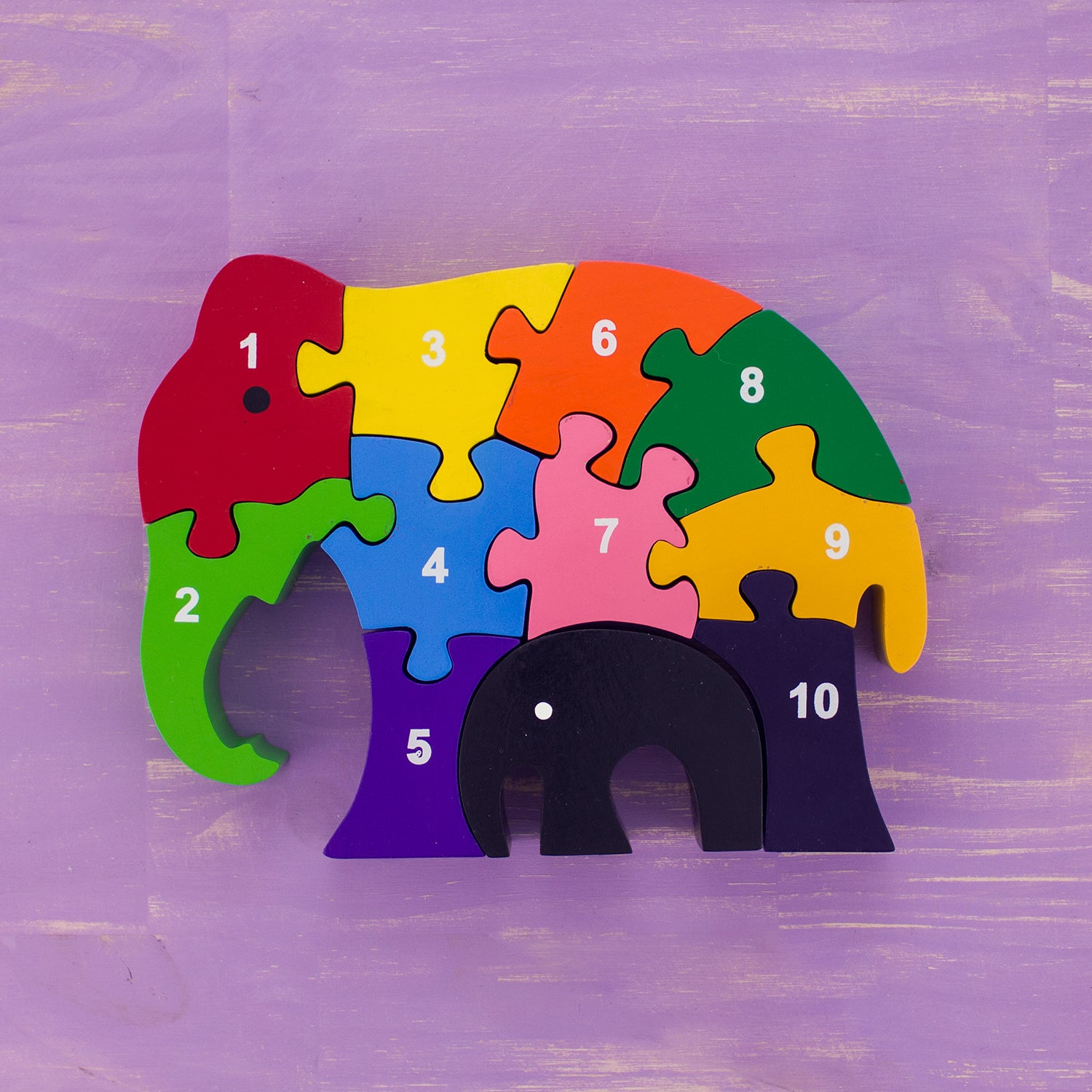 Wooden Puzzle Mama and Baby Elephants Numbers