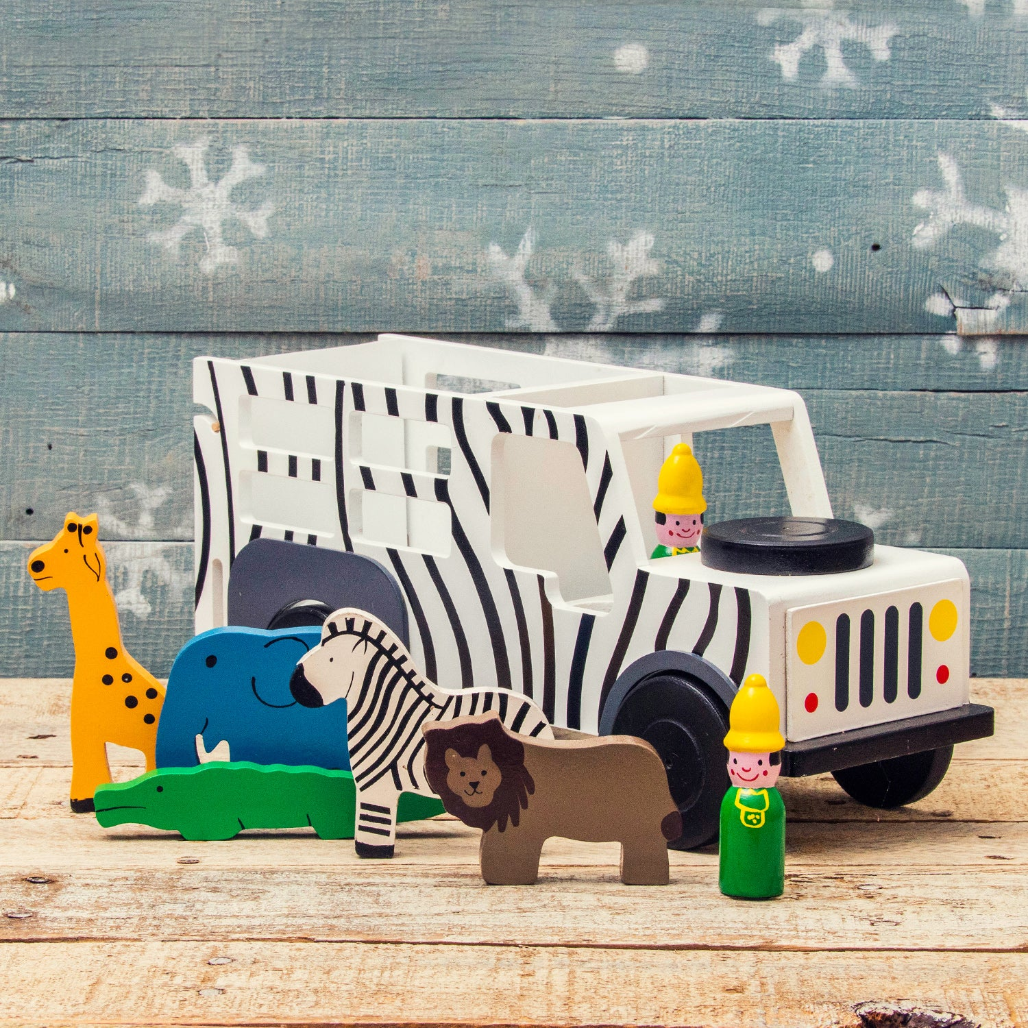 Wooden Safari Truck with Animals