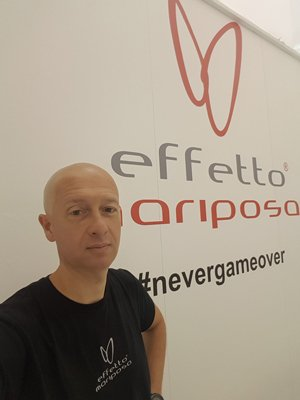 Alberto with the logo of his beloved Effetto Mariposa