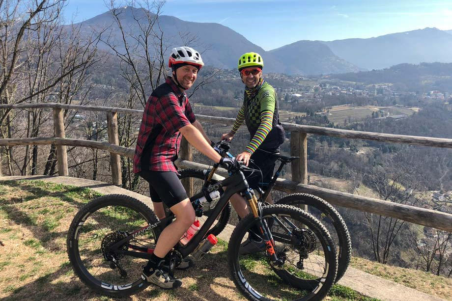 On his MTB with his friend Andrea Chiesa from Yep Components